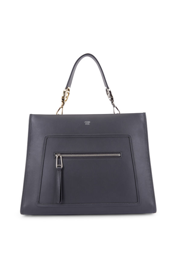 Fendi Runaway Black Leather Large Luxe Tote Bag