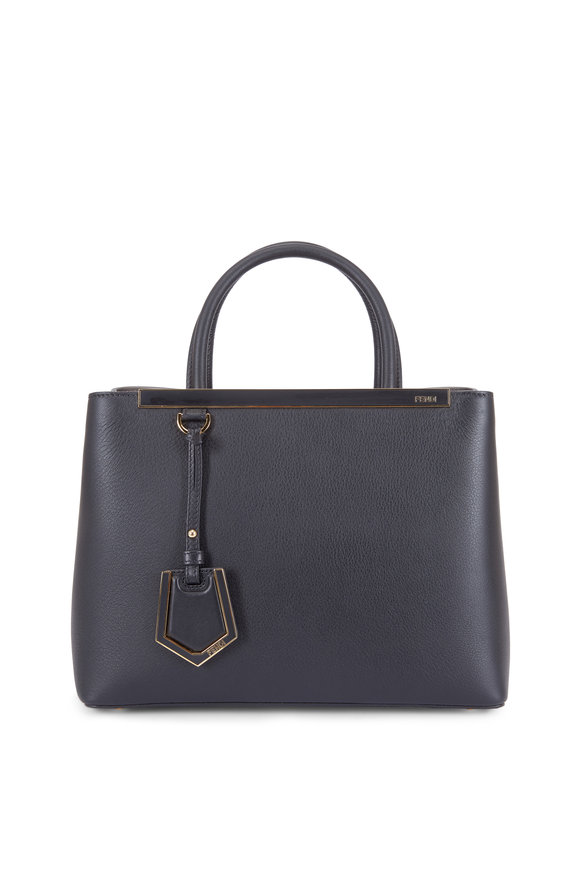 Fendi 2Jours Black Grained Leather Small Tote