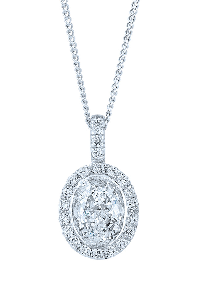 Platinum White Diamond Silhoutte Pendant