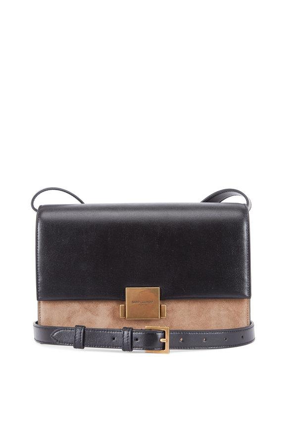 Saint Laurent Bellechasse Black Leather & Taupe Suede Satchel