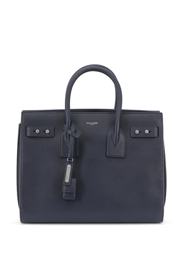 Saint Laurent Sac De Jour Navy Leather Small Tote