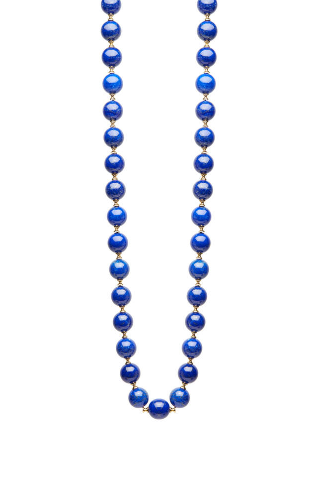 Yellow Gold Lapiz Lazuli Necklace