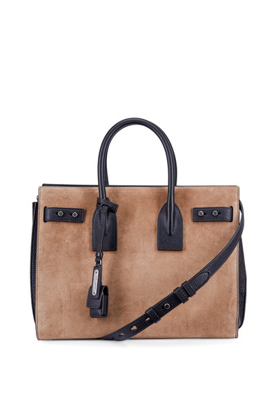 Saint Laurent - Sac De Jour Taupe & Black Suede Shoulder Bag