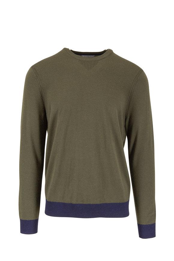 Michael Bastian Olive Green Colorblock Wool Sweater