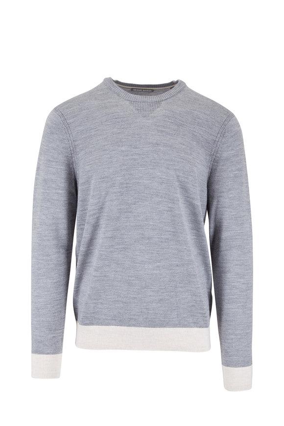 Michael Bastian Gray Colorblock Wool Sweater