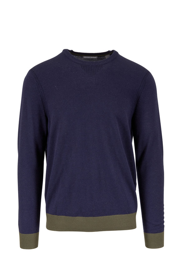 Michael Bastian Navy Blue Colorblock Wool Sweater