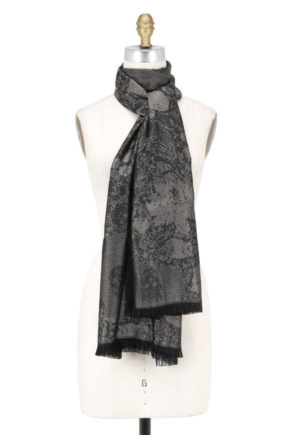 Alexander McQueen Back & Bronze Cashmere Chainmail Print Scarf