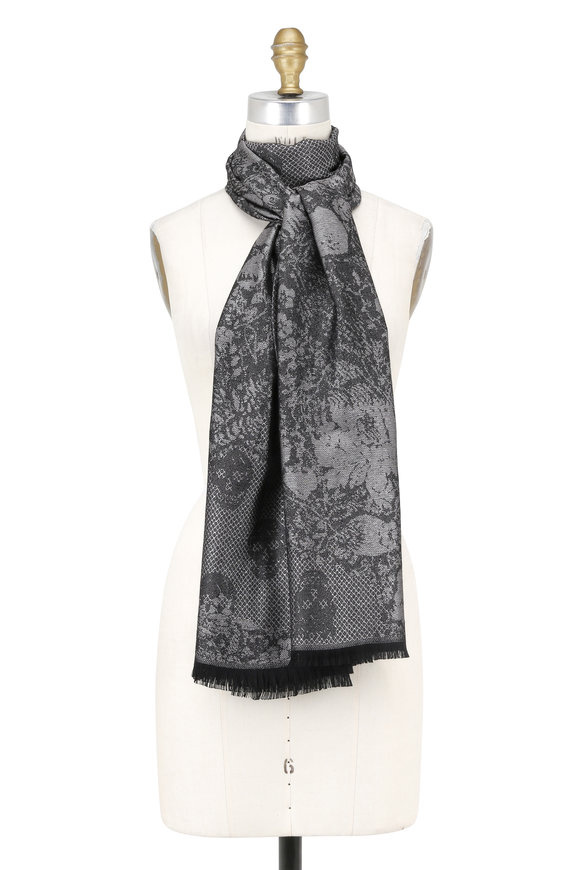 Alexander McQueen Back & Silver Cashmere Chainmail Print Scarf