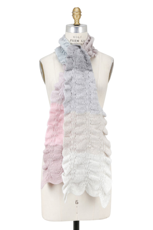 Lainey Keogh Pastel Multi-Color Textured Cashmere Scarf