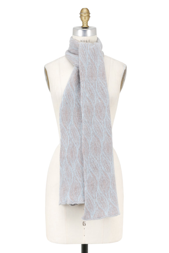 Lainey Keogh Fairisle Drift & Aqua Cashmere Scarf