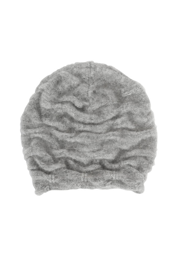 Lainey Keogh Silver & Gray Cashmere Two-Tone Hat