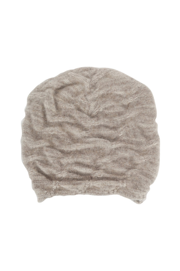 Lainey Keogh Oat & Taupe Cashmere Two-Tone Hat