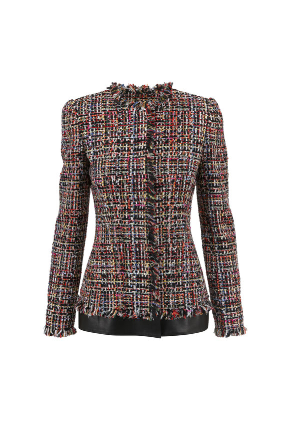 Alexander McQueen Multicolor Tweed Leather Trim Fitted Jacket