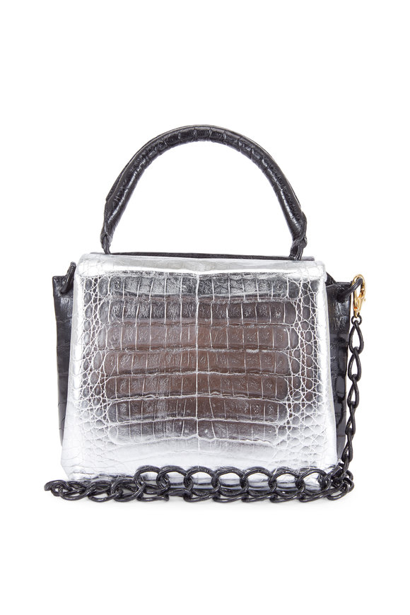 Nancy Gonzalez Metallic Silver & Black Crocodile Small Tote