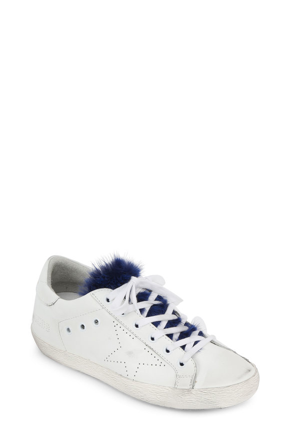Golden Goose Women's Superstar White & Blue Mink Fur Sneaker