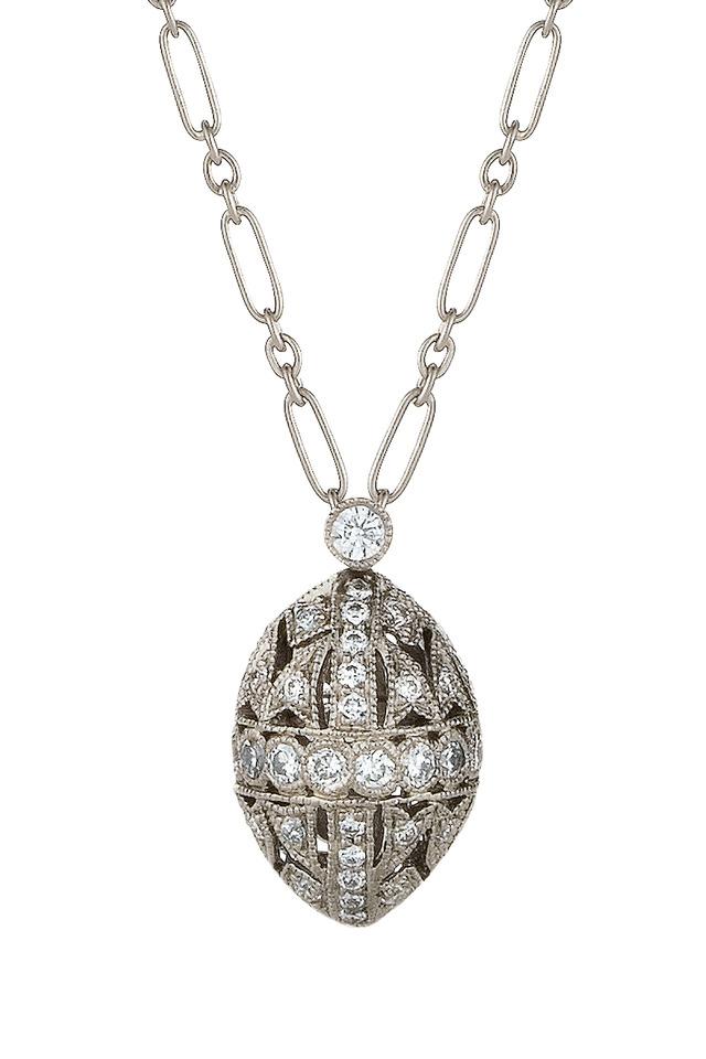 18K White Gold Diamond Filigree Pendant Necklace