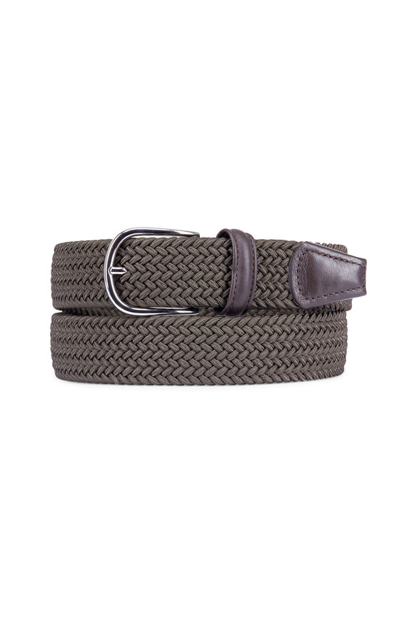 Anderson's Olive Green Leather & Nylon Stretch Belt