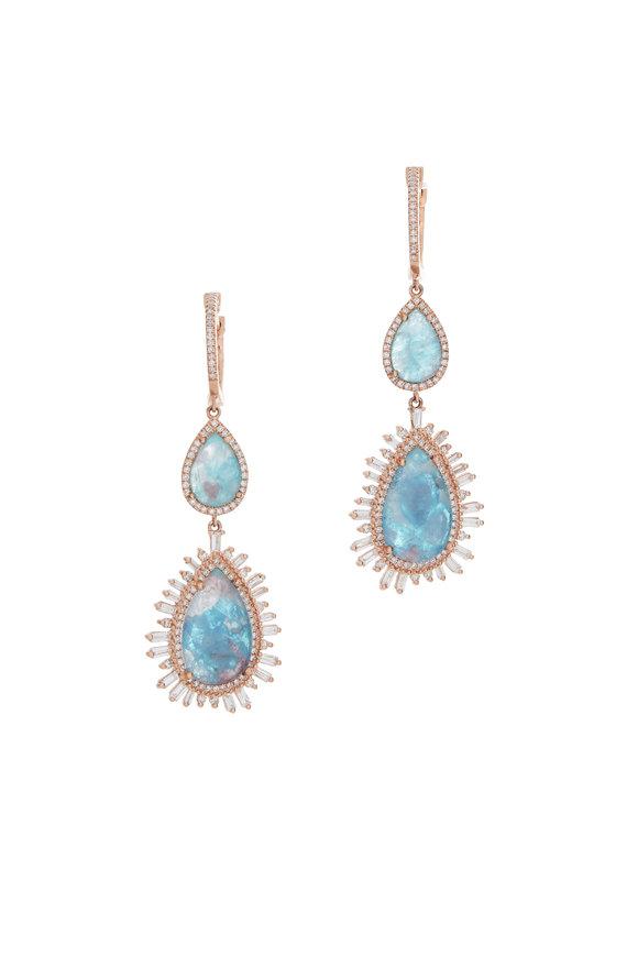 Kai Linz 14K Rose Gold Paraiba & Diamond Drop Earrings