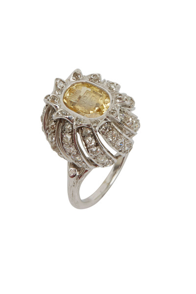Fred Leighton - Platinum Yellow Sapphire Intaglia Diamond Ring