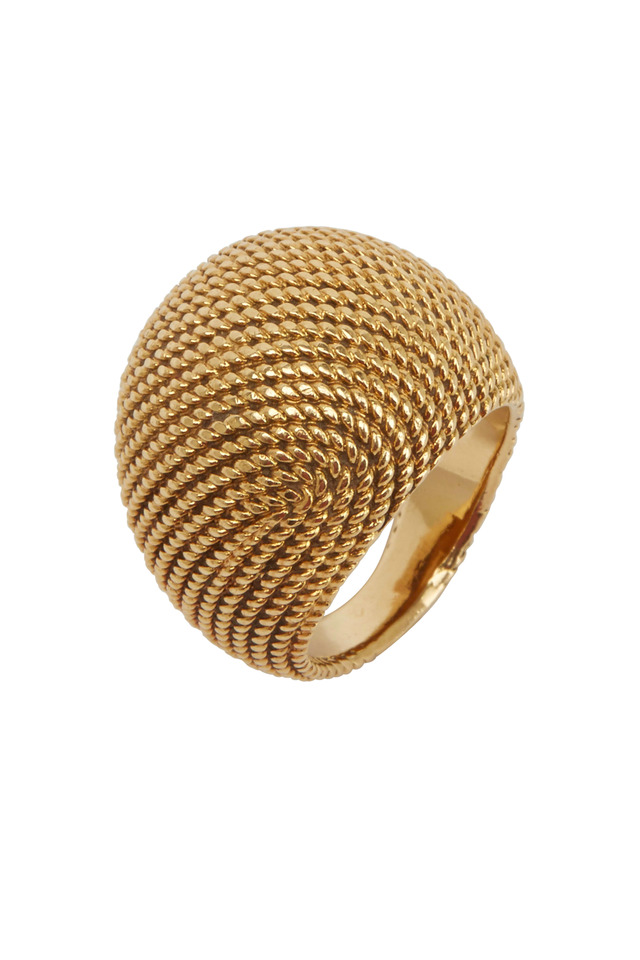 Textured Yellow Gold Dome Hermes Ring