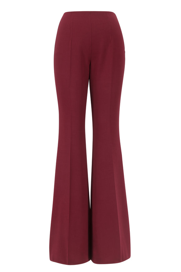 Michael Kors Collection Merlot Double-Faced Wool Flare Pant