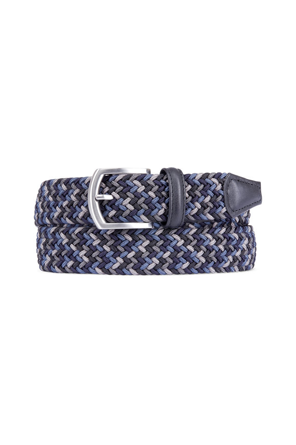 Anderson's Navy Blue Multicolor Stretch Woven Belt