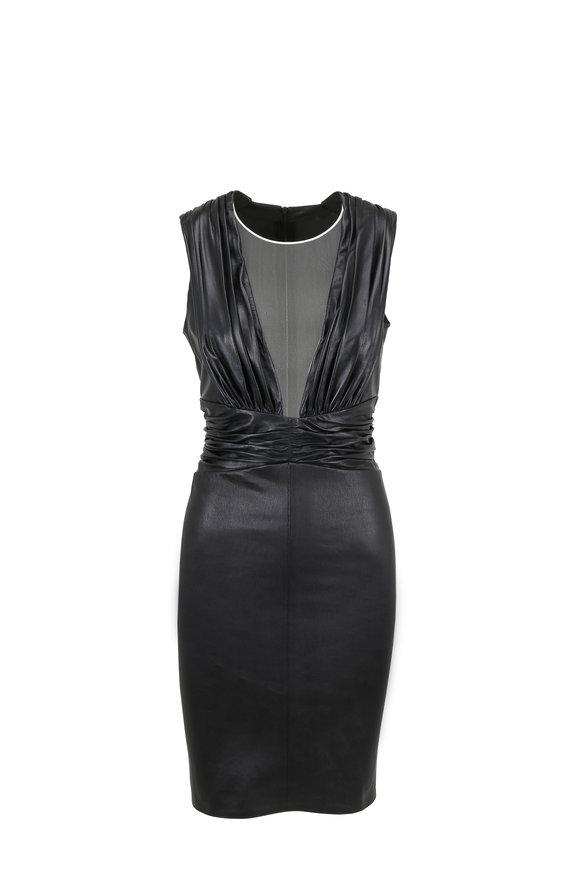 Jitrois New Destiny Black Leather Sheer Panel Ruched Dress