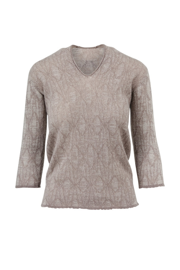 Lainey Keogh Cream & Taupe Two-Tone V-Neck Sweater