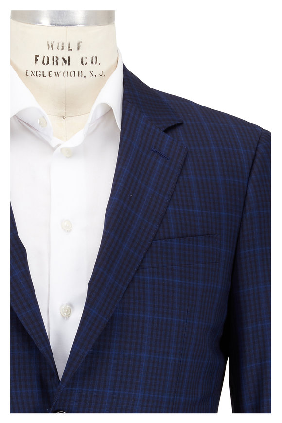 Canali Dark Blue Plaid Wool Sportcoat
