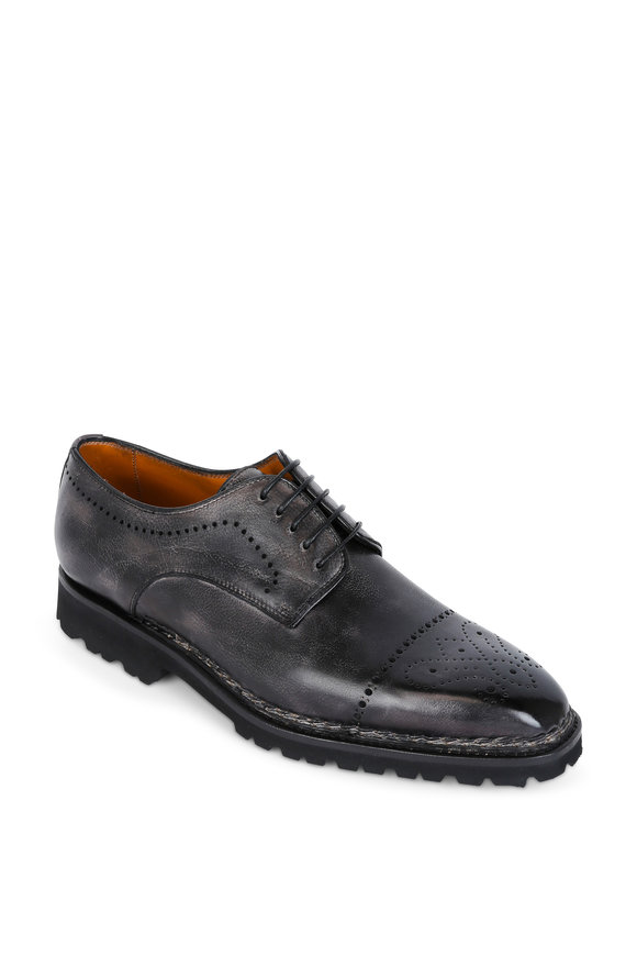 Bontoni Brera II Dark Gray Leather Derby Shoe