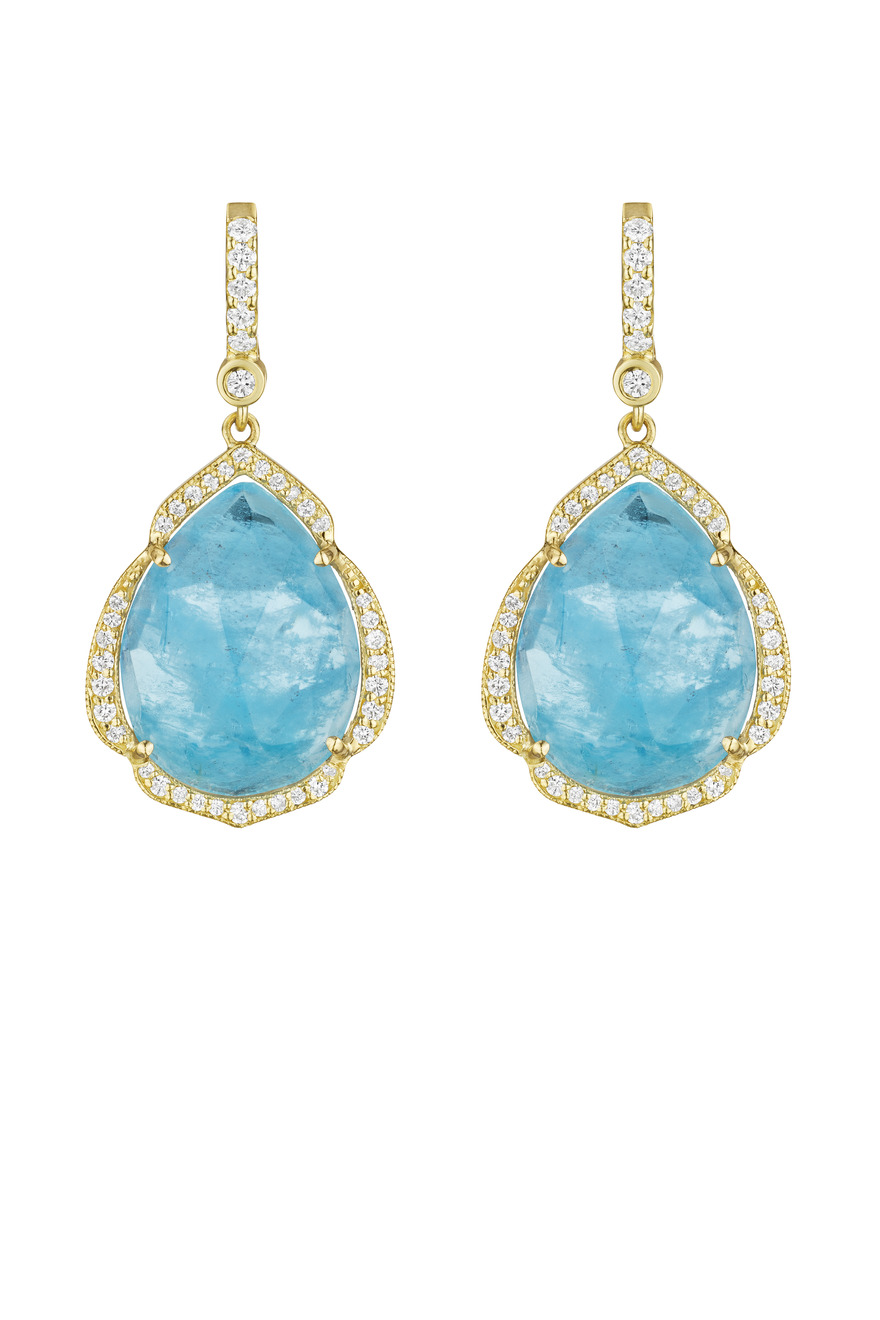 Pearshape Aquamarine Gemstone Dangle Earrings