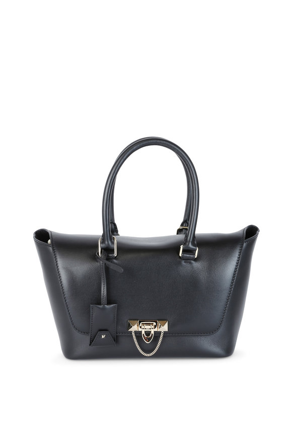Valentino Garavani Demilune Black Leather Top Handle Bag