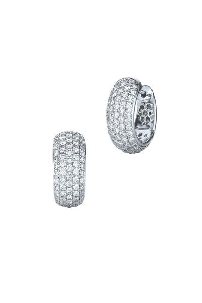 Kwiat - 18K White Gold Diamond Huggie Earrings
