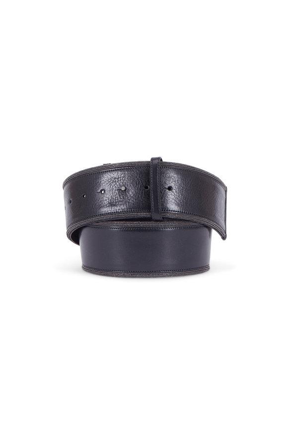 Brunello Cucinelli Black Leather & Monili Wide Belt