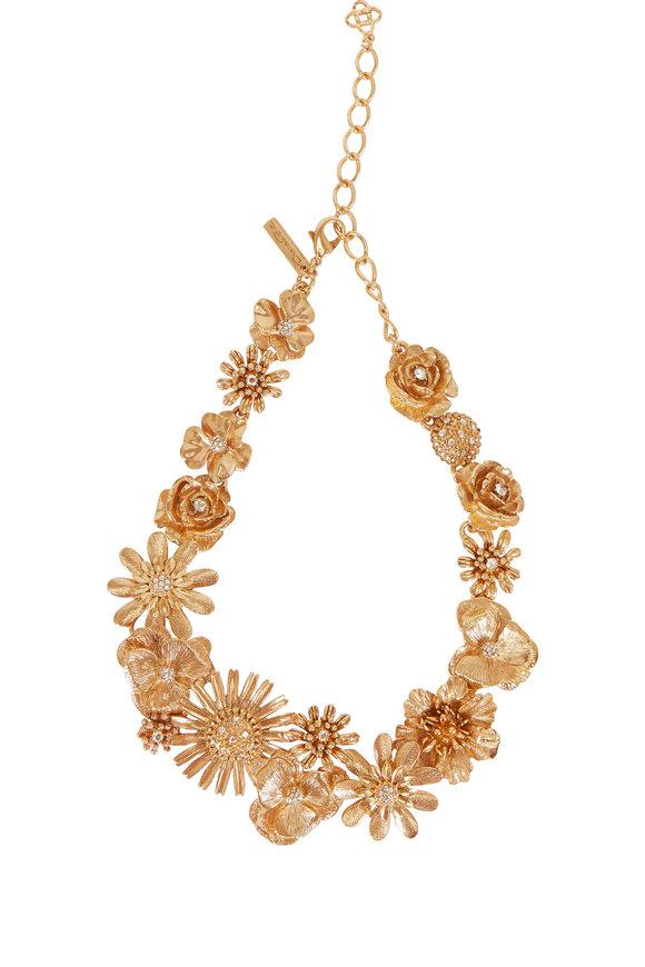 Oscar de la Renta Gold Gilded Floral Drop Necklace