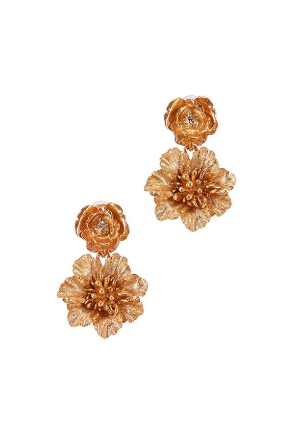 Oscar de la Renta Gold Gilded Floral Drop Clip-On Earrings