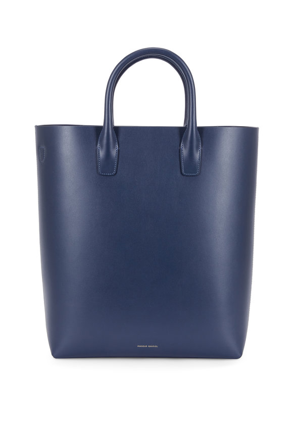 Mansur Gavriel Navy Blue Leather Vertical Tote