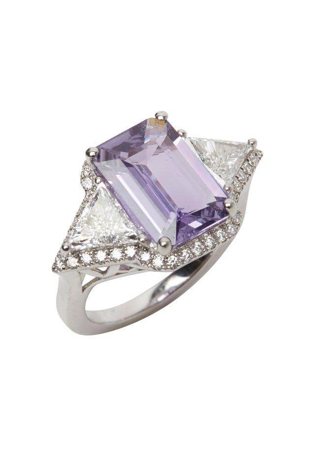 Platinum & Purple Sapphire & Diamond Ring