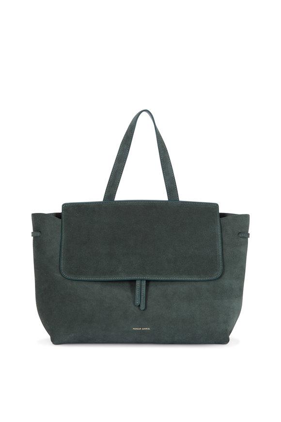 Mansur Gavriel Lady Moss Green Suede Medium Top Handle Bag