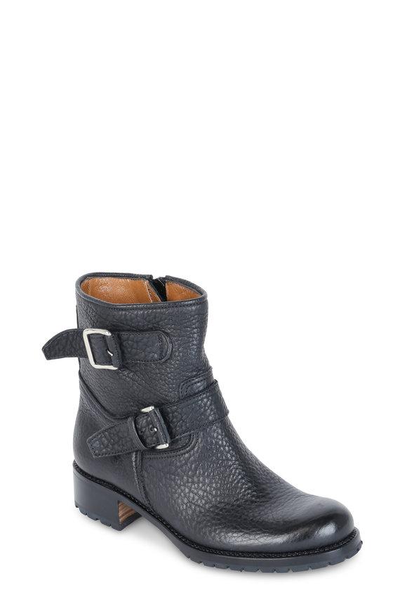 Gravati Black Pebbled Leather Moto Boot