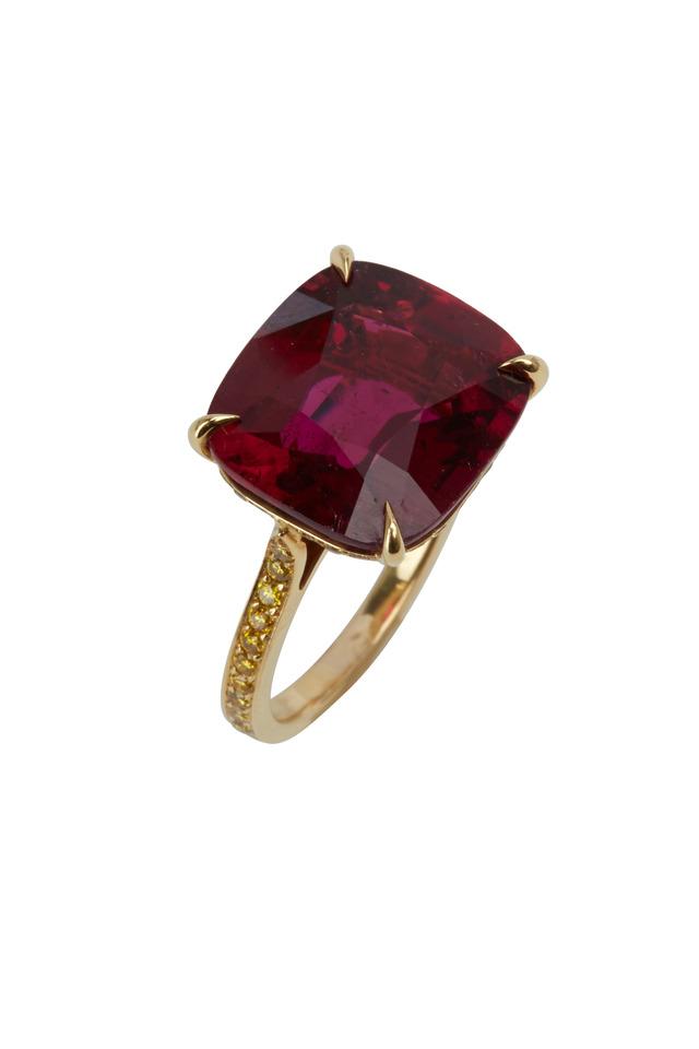 Gold Pink Tourmaline & Yellow Diamond Ring