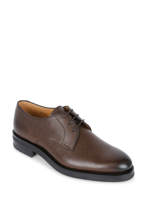 Heschung Yucca Brown Grained Leather Derby Shoe