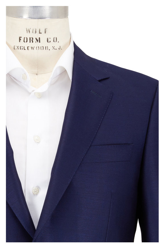 Canali Navy Blue Textured Wool Suit