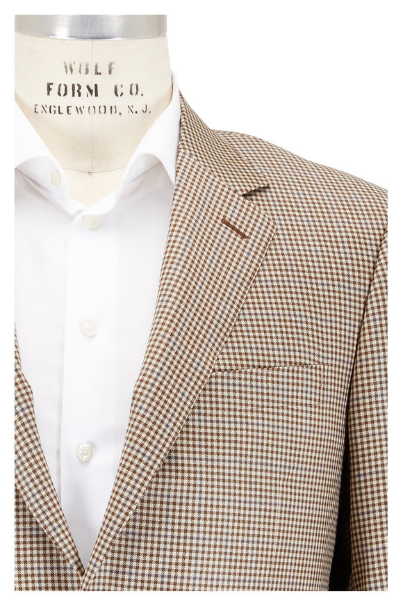 Canali Tan Mini Check Wool Sportcoat