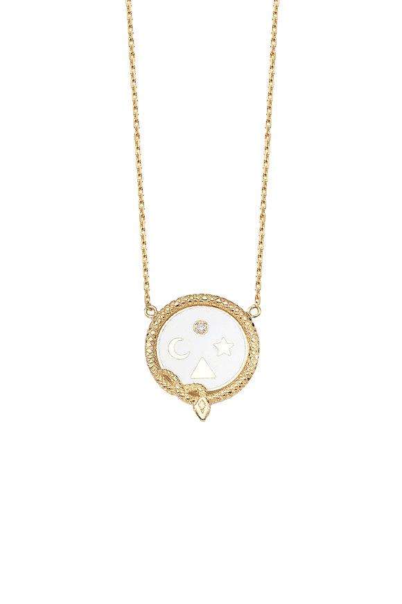 Foundrae 18K Gold Diamond Wholeness Champleve Necklace