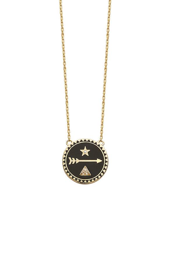 Foundrae 18K Gold Diamond Petite Dream Champleve  Necklace