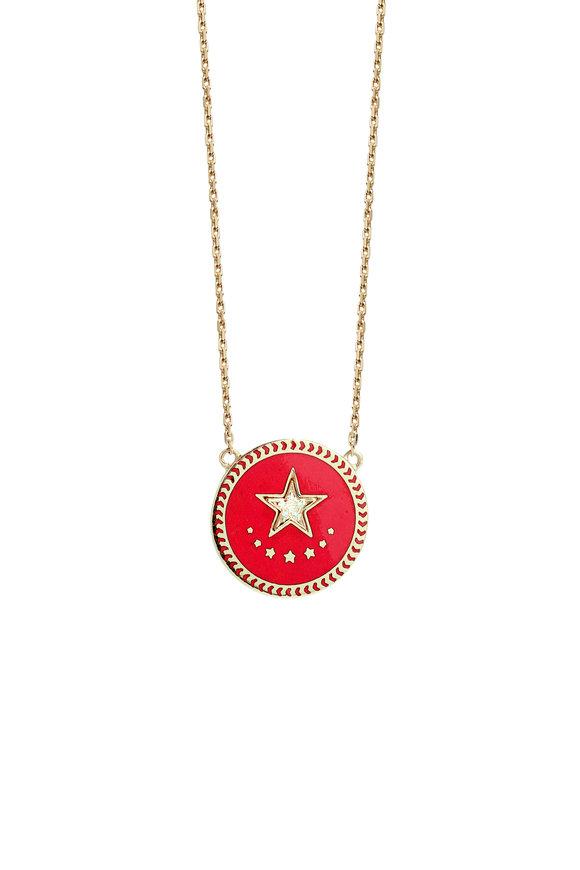 Foundrae 18K Gold Diamond Strength Champleve Necklace