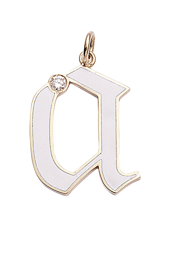 "Foundrae 18K Yellow Gold Diamond ""A"" Initial Pendant"