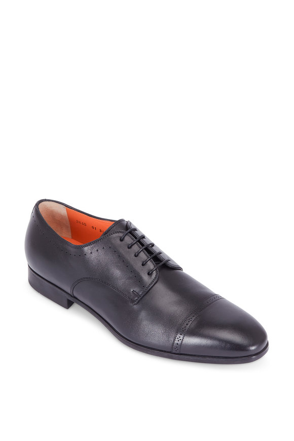 Santoni Gareth Black Leather Cap-Toe Oxford