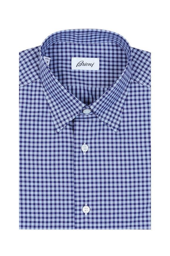 Brioni Navy Blue Check Sport Shirt
